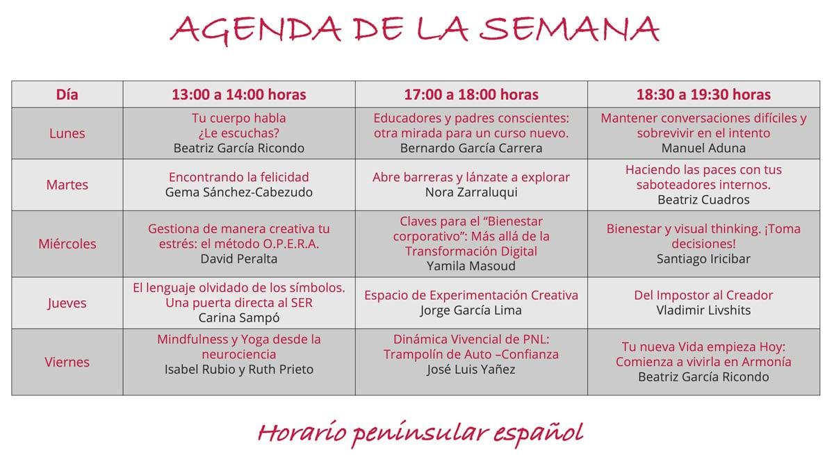 Agenda Semana de Puertas abiertas Sept. 21